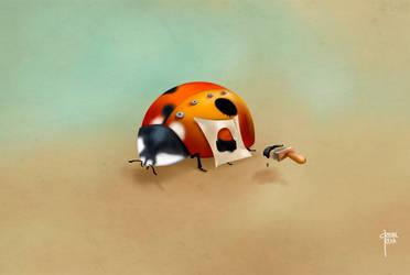Ladybug Injured. Healthy Spares' House by cristalreza