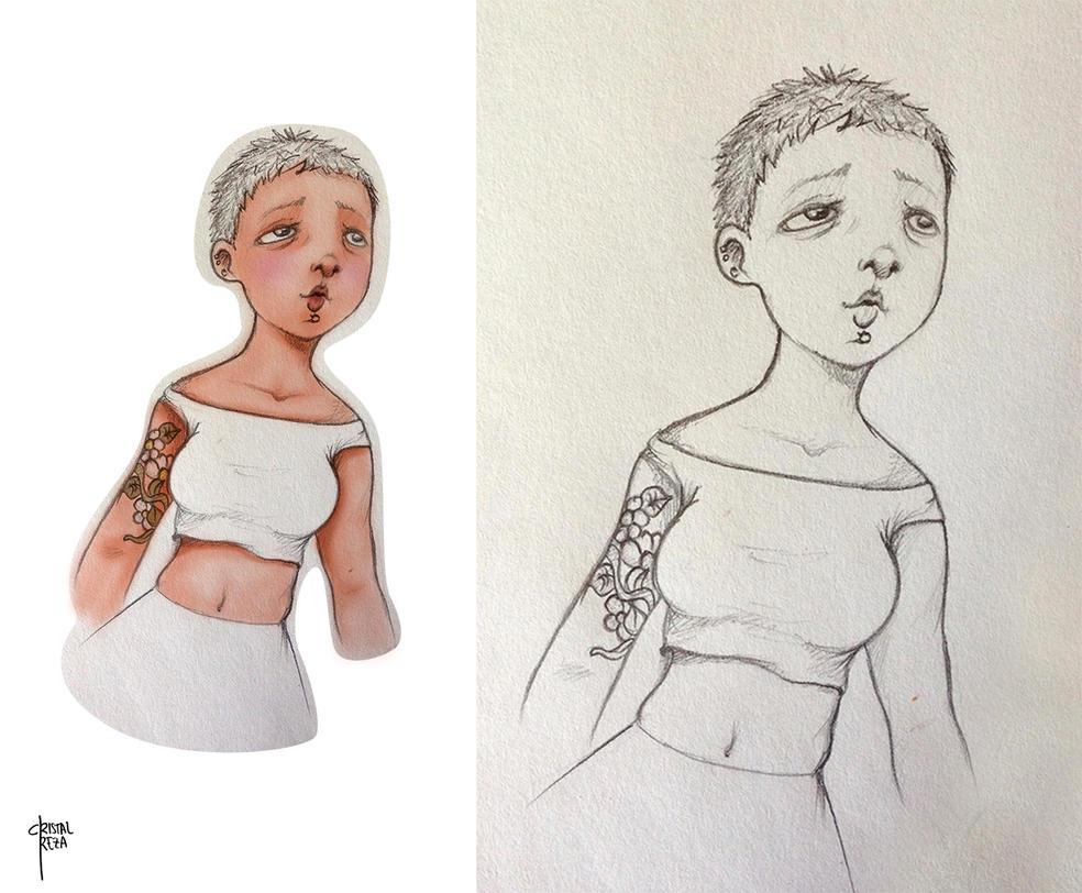 Tattoo girl sketch by cristalreza