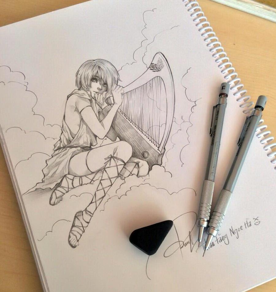 Playing Harp by 69XuXu69