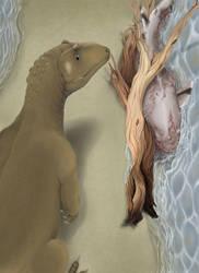 Eustreptospondylus and the rotten Hybodus by KirbyniferousRegret