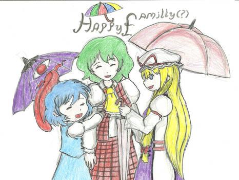 Happy umbrella family