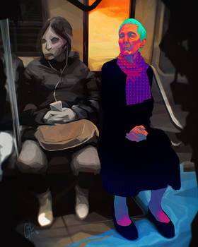 Old woman in the subway