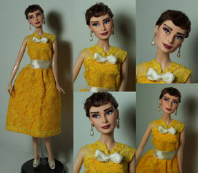 Audrey Hepburn OOAK doll Givenchy inspired by lulemee