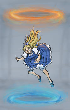 Alice down the portal hole