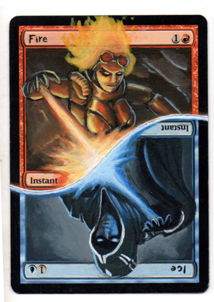 Fire//Ice Altered Art Magic by Nicolarre Fire Ice MTG Fire Ice Magic cards Fire Ice split card Magic the Gathering altered art MTG cards