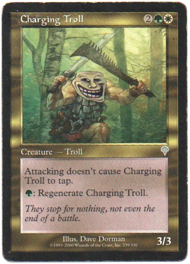 Charging Troll altered art Magic the Gathering Troll Face img Troll meme altered art magic the gathering altered artwork Charging Troll MTG card Troll magic Troll meme troll face