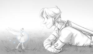 Ocarina Link and Fairy laying down