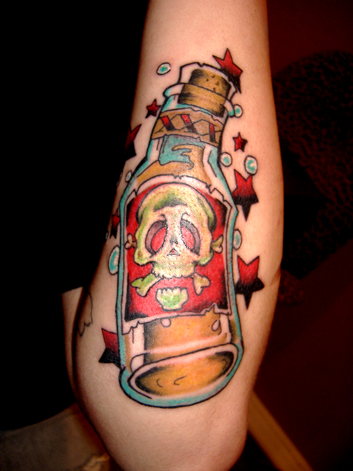 alcohol bottle tattoo flash pictures to pin on pinterest tattooskid. Black Bedroom Furniture Sets. Home Design Ideas