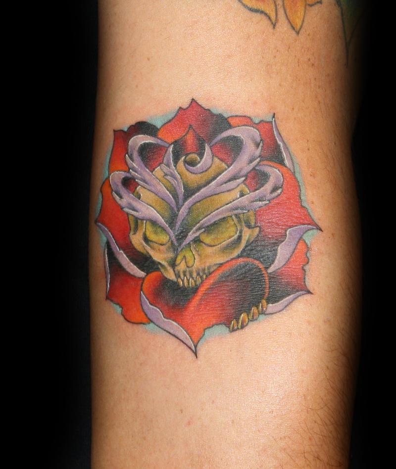 skull flower - flower tattoo