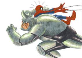 Spidey vs The Rhino by Hognatius