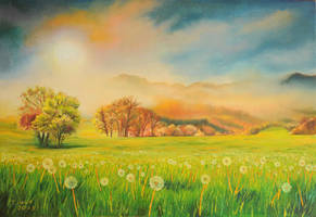 Dandelion sunset by Cora-Tiana