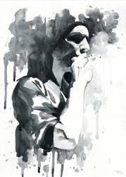 Brian Molko (smoking) by Cora-Tiana