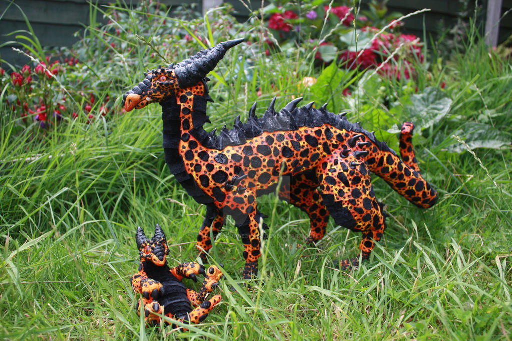 Volcanic dragon pair art doll by DragonForge311088