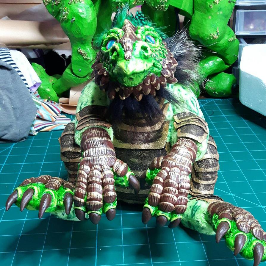 lil chubby forest dragon art doll by DragonForge311088
