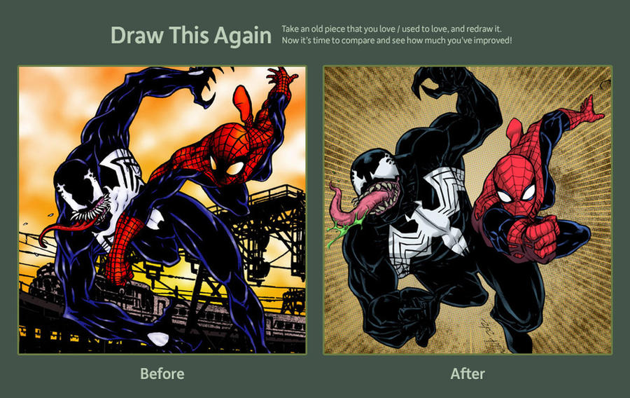 DRAW THIS AGAIN contest spiderman vs venom by mdavidct