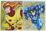 Firestorm and Blue Beetle sketch card commission