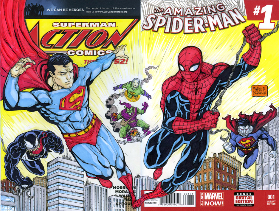 superman and spiderman crossover sketch cover by mdavidct on deviantart