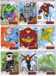Avengers age of Ultron oficial sketch cards 10-18 by mdavidct