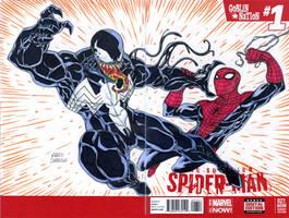 Venom vs Spiderman sketch cover by mdavidct