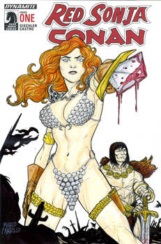 Red Sonja and Conan sketch cover
