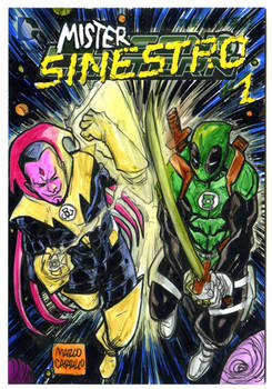 Mr. Sinestro vs Greenpool sketch card