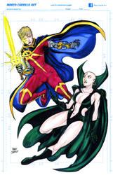 Quasar and Lady moondraggon commission 11x17