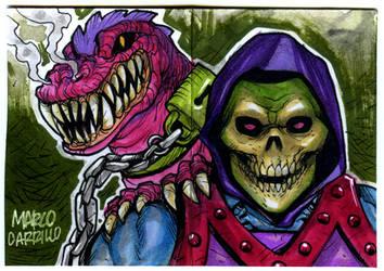 Skeletor Dragon blast sketch card by mdavidct