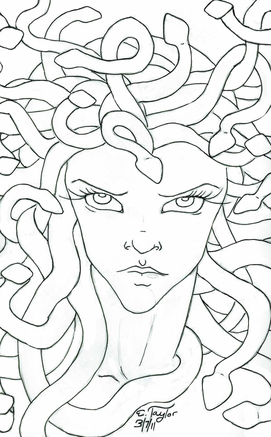 Medusa by bizliz on deviantart for Medusa coloring pages