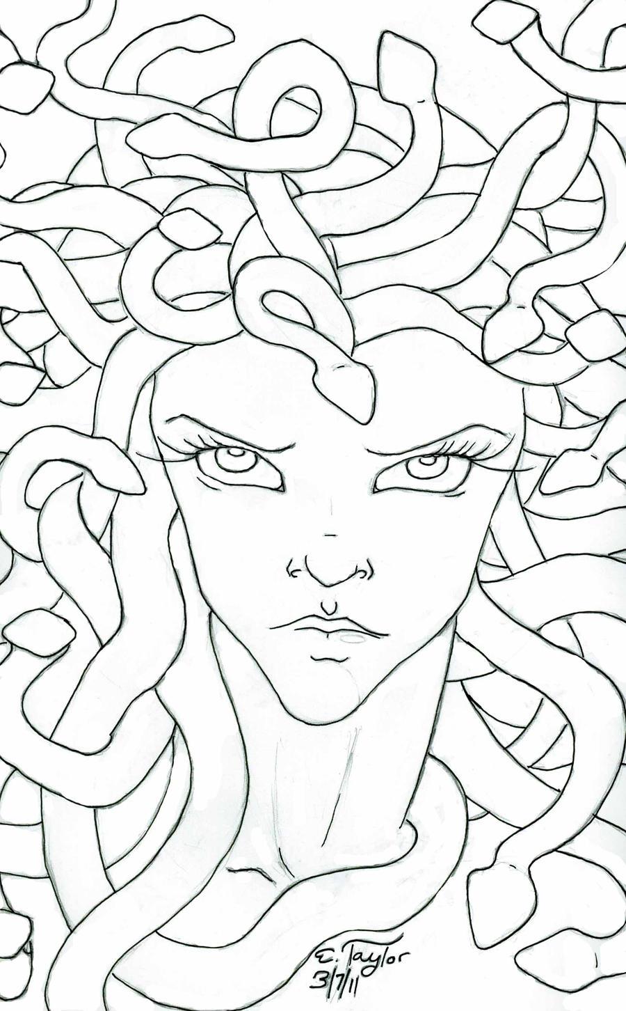 Medusa by bizliz on deviantart for Medusa coloring page