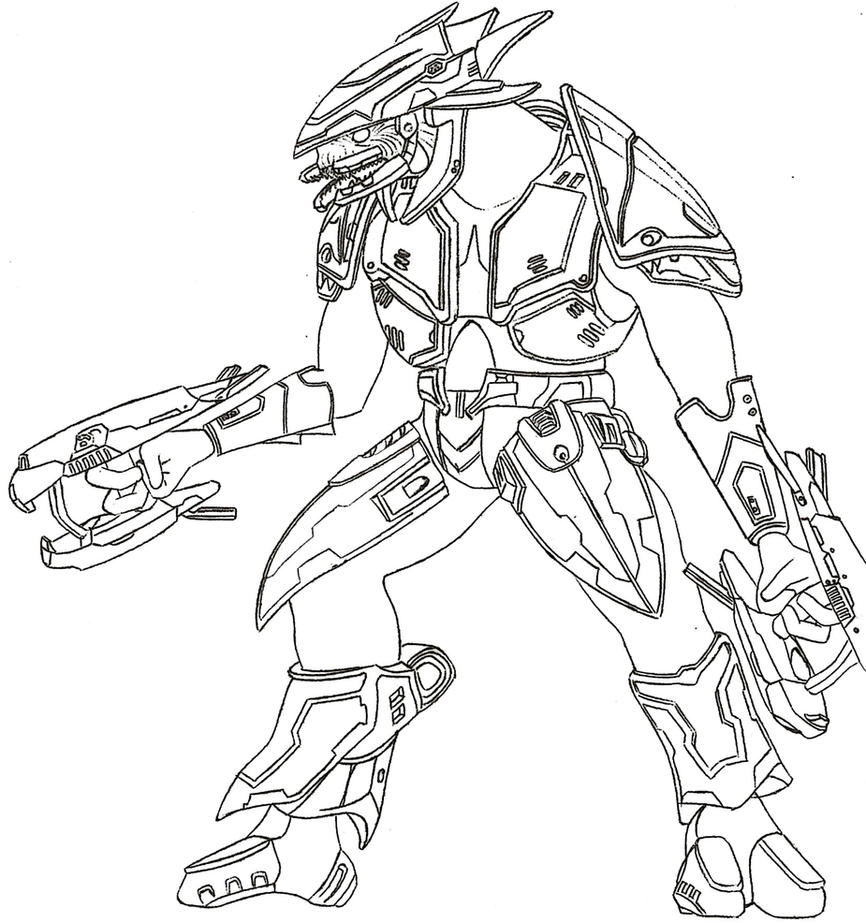 Halo 3 elite by germanwolf44 on deviantart for Halo coloring pages