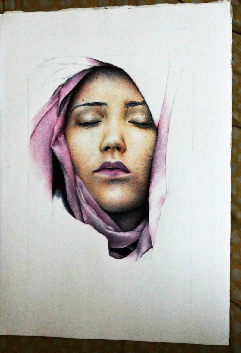 Veiled Lady Ballpoint pen Work in Progress by rak78374