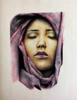 Veiled Lady Ballpoint pen Work in Progress 2 by rak78374