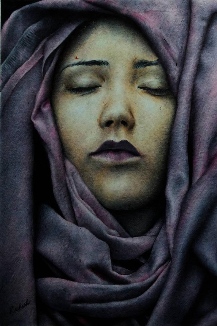 Veiled Lady Ballpoint Pen Portrait by rak78374