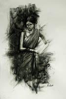 Woman in saree charcoal drawing