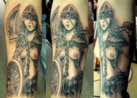 Viking girl tattoo by dmtattoo