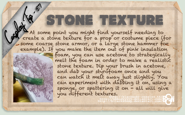 Cosplay Tip 57 - Stone Texture by Bllacksheep