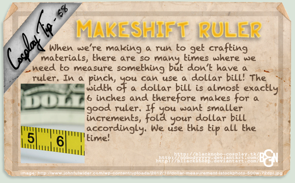 Cosplay Tip 58 - Makeshift Ruler by Bllacksheep