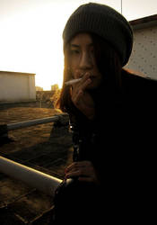 smoking under the sunset by greyblues