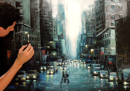 After the Rain - oil painting on canvas done with