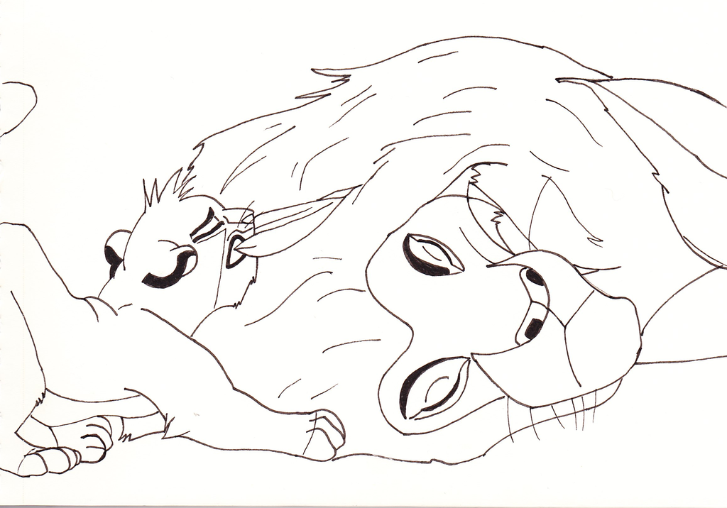 Simba And Mufasa Sketchline - The Lion King 1994 by ...