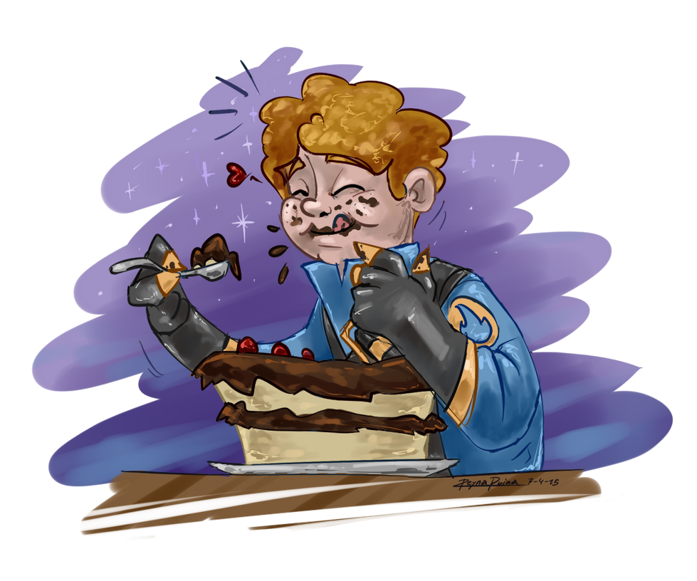 TF2: Peter with cake by reynaruina