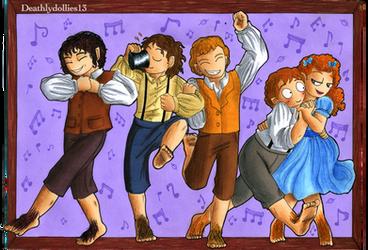 Dancing hobbits by Deathlydollies13