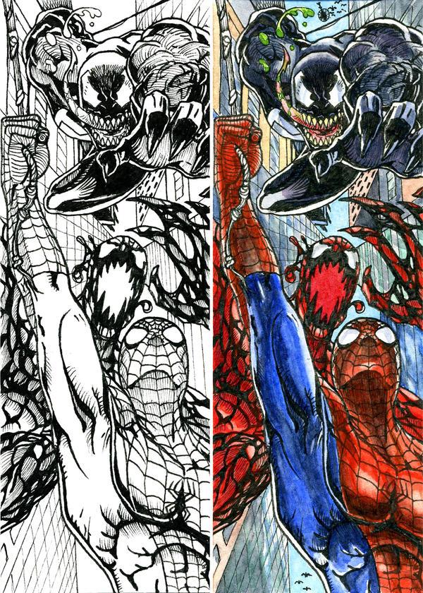 Spiderman vs Carnage and Venom