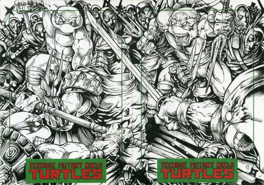 Turtles vs Shredder and The Foot Clan inks by DKuang