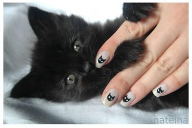 Black kitty nails by natelha