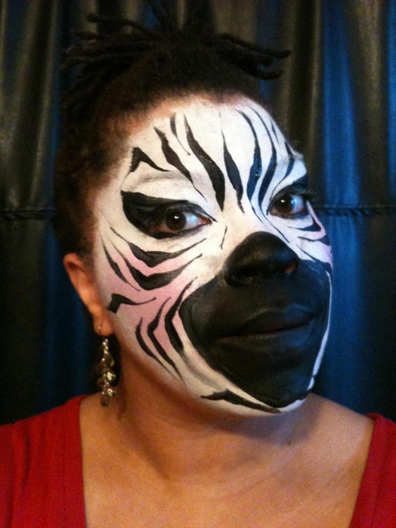 Zebra face by CABBYJ Zebra Face Paint For Halloween