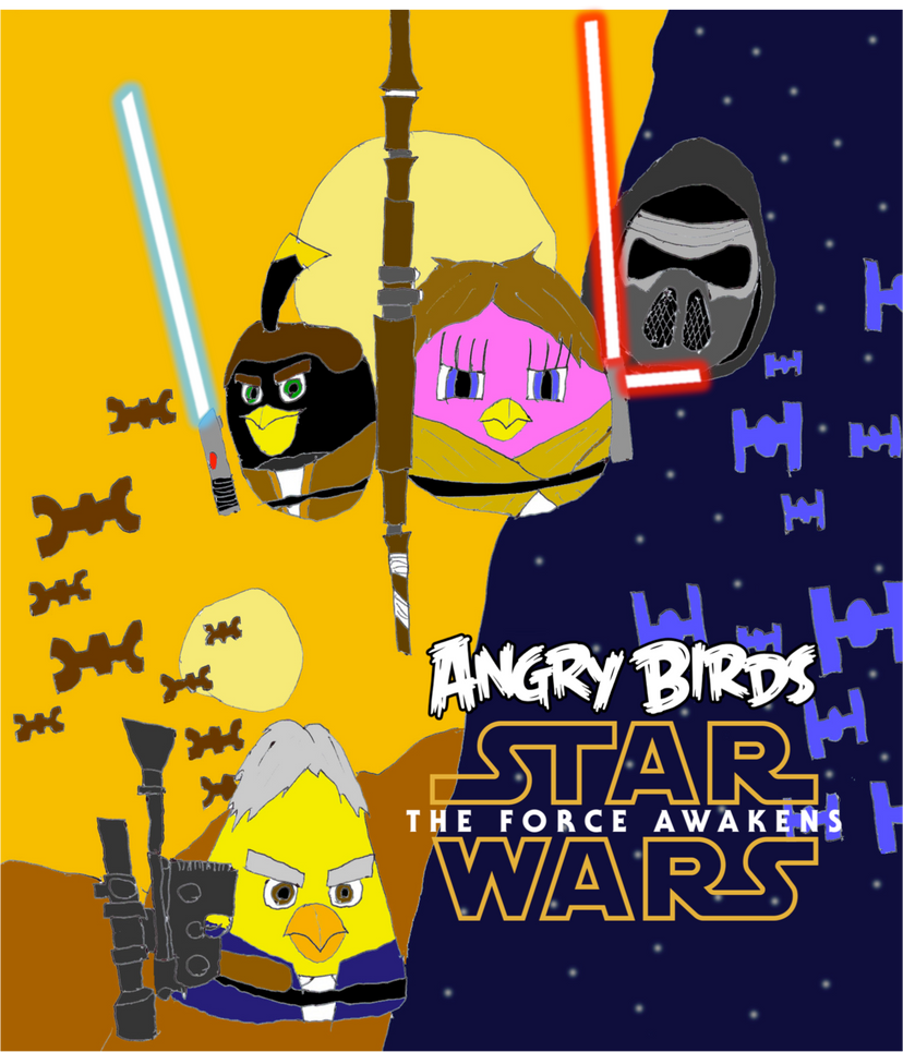 Angry birds star wars the force awakens poster by - Angry birds star wars 8 ...
