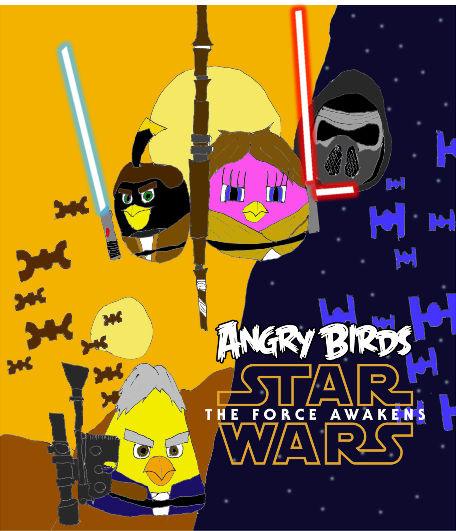 Angry Birds Star Wars The Force Awakens Poster by FanAngryBirds