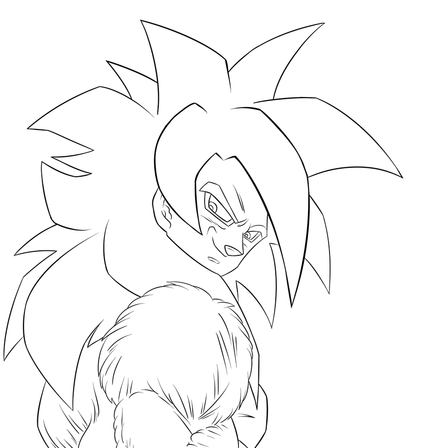 Super saiyan 4 goku lineart by tbowe321 on deviantart for Goku super saiyan 5 coloring pages