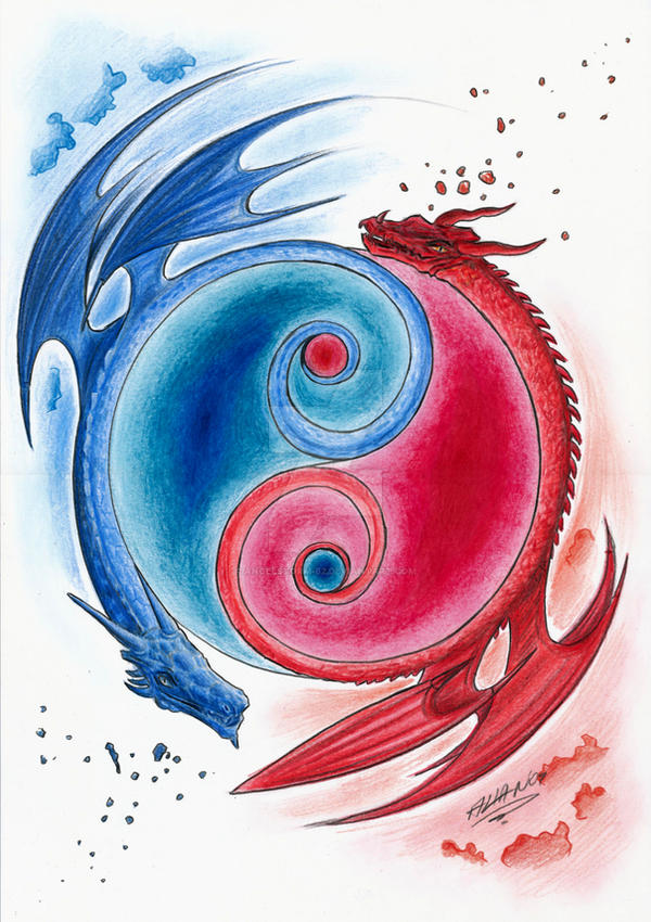 Yin yang dragons by angelstorm 82 on deviantart for Fire and ice tattoo shop